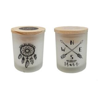 Κερί σε ποτήρι με σχέδιο
